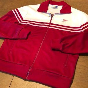 SOLD 📦 VTG Red Embroidered Warm Up Jacket L MINT!